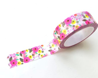 Floral washi tape, pink & yellow flowers