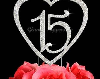 Custom 15 Quinceanera Rhinestone HEART cake topper decoration number 15 cake topper Birthday cake jewelry