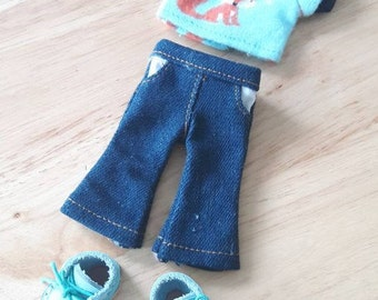 1 Set for Lati and Pukifee Shirt and Jean with Blue Leather Boots