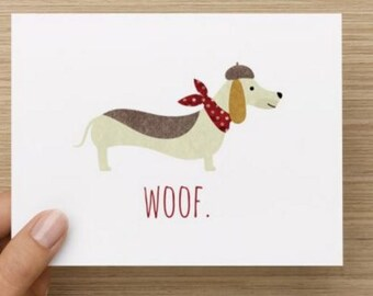 Notecards.  Classy wiener dog. Woof.  Funny dachshund notecard.  Multiple pack sizes available.