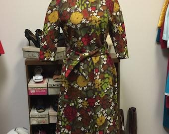 Brown Floral Dress Women's Mod Wool With Belt/Tie Retro 1960s Shift