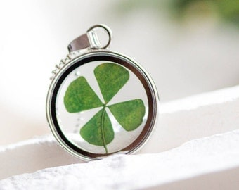 WISH LUCK Necklace Real Four Leaf Clover, Jewelry Woman Lucky Charm, shamrock Necklace Blown Pendant, Birthday Gift, Mother's Day