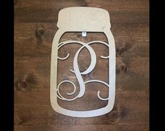 """18"""" Wood Mason Jar Shape Monogram Initial Unfinished"""