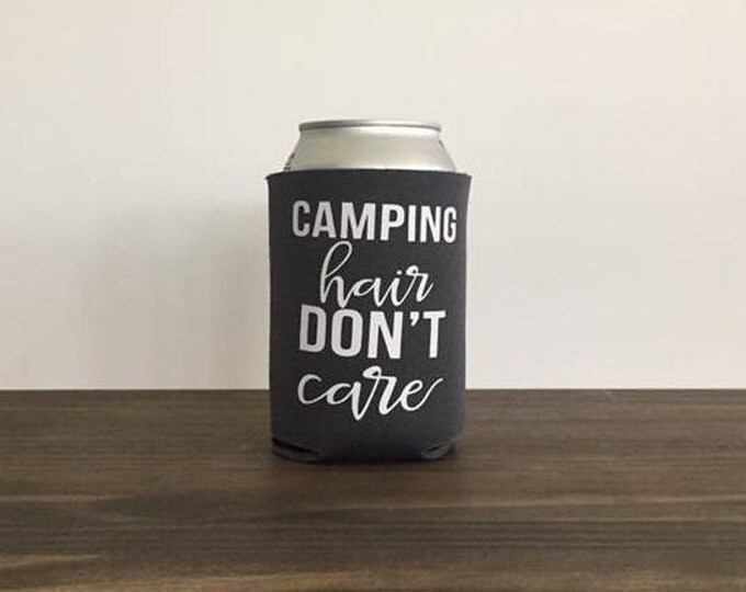 Camping Hair Don't Care Can Cooler Dink Holder Summer Vacation 17 colors