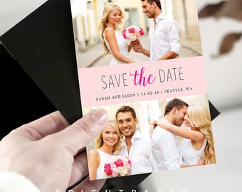 Save-The-Dates Invitation Photo Engagement Announcement Invitations Wedding Invites Modern Save The Date Digital Printable STD012