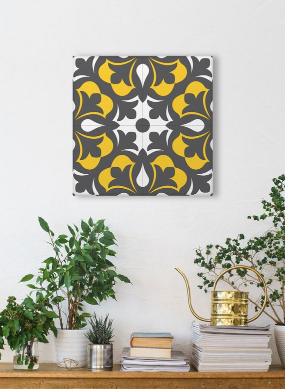 Ceramic Tile Design Printed On Canvas, Square Print, Geometric Wall Art, Vintage Wall Decor