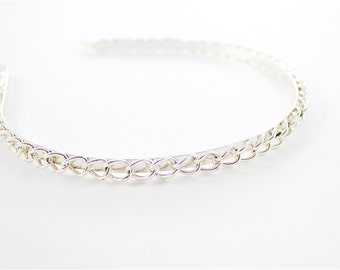 Vintage Silver Tone Chain Headband Hair Band Hoop