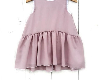 Baby mauve crepe dress, baby ceremony dress, toddler curled dress, girls dress, baby bride dress, bambina vestito