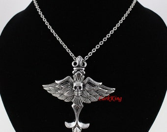 Large stainless steel winged cross necklace, winged skull necklace, winged sword cross, wings necklace, men cross; baptism cross, NE7091