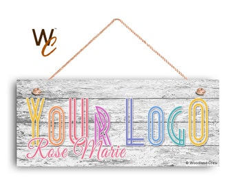 "Company Sign, Place Your Logo on Sign, Personalized 6""x14"" Sign, Promote Business or Boutique, Rustic Wood Style 8, Made To Order"