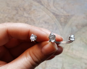 2 Finger Ring, Herkimer Diamond Statement Ring, Herkimer Diamond Ring, Two Finger Ring, Statement Ring, Multi Finger Ring