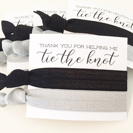 CHOOSE YOUR COLORS Hair Tie Bridesmaid Gifts | Black + Silver Gray Hair Tie Favors, Wedding Party Gift, Modern Simple Black Silver Grey Gray