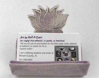 Ceramic Business Card Holder/Lotus/Flower/Amethyst