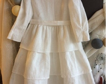 White linen dress/ Baptism linen dress / Girls linen dress white /  Flower girl dress linen / White dress / Handmade linen dress