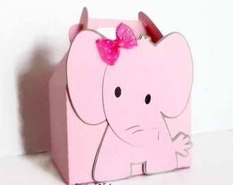Elephant Gable Box, Favor Box, Candy Box, Gift Box with Pink & Grey Elephant or Choose Your Colors- Set of 6pcs, 12pcs, 25pcs