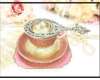 RARE Antique Ornate Italian Brass Cherub Tea Strainer, Baroque Tea Strainer for Tea Time, Tea Party, Wedding Present, Valentine #A617