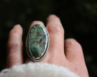 Us size 5.5-Mossy Mountain Ring- Sterling Silver and Moss Agate
