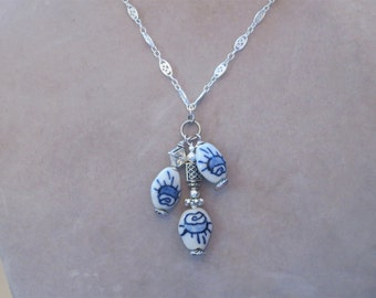 Horse Eye Chain & Porcelain Sun Pendant Necklace; Abstract Casual; Antiqued Silver Filigree; Blue White; Decorated Beads; Cluster Dangle