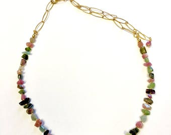 Tourmaline Nuggets and Gold Necklace