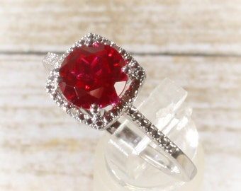 925 Sterling Silver Created Ruby & Halo Diamond Engagement May Birthstone Ring, Custom Sizes Available