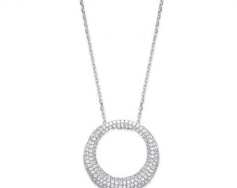"Silver Graduated Cz Circle of Life, on 18"" Chain"