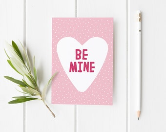 Be Mine Card For Anniversary, Heart Valentine's Card, Cute Anniversary Card, Love Card For Her, Valentines Card For Him, Anniversary Card