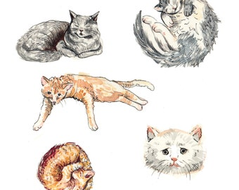 Lounging Cats Art print