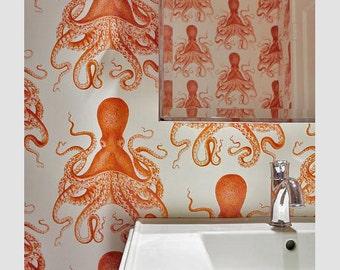 Octopus Peel 'n Stick Wallpaper // Goldfish Orange