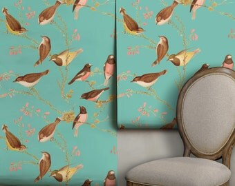 Bird Chinoiserie Peel 'n Stick Wallpaper, Easy to Apply, Perfect for Renters