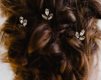 Silver Leaf Bridal Hair Pin | Crystal Wedding Hair Pin | Silver Leaf Bridal Hair Pins | Crystal Leaf Bridal Pin | Petite Silver Nora Pin