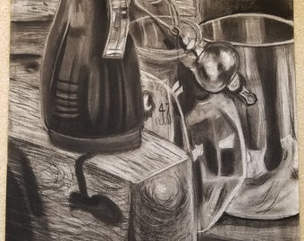 Charcoal Still-life Kitchen Ware