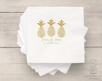Wedding Party Napkins | Personalized Napkin | Pineapple Napkins