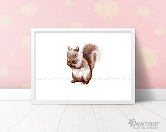 Squirrel nursery animal art prints - squirrel nursery woodland baby shower gift, forest animal nursery wall art squirrel gift squirrel decor