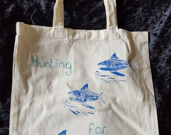 Hand Printed Tote Bag With Sharks. Hand crafted Woodblock Made By Me