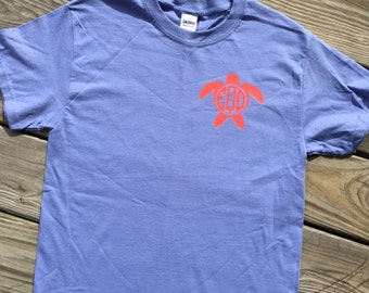 Monogrammed Sea Turtle Short Sleeve Shirt. Sea Turtle. Monogrammed Turtle Shirt. Turtle Shirt. Monogrammed Clothing. Monogrammed Apparel.