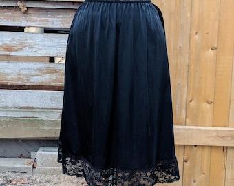 Vintage 1980's Black and Lace Satin Poly 100% Nylon Longer Calf Length Slip Size Large