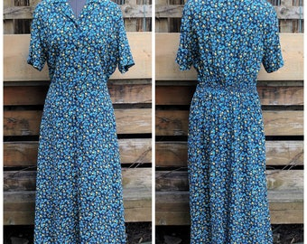 Vintage 1990's Ankle Length Blue With Yellow Roses Prairie 100% Rayon Summer Dress by Personal Favorites