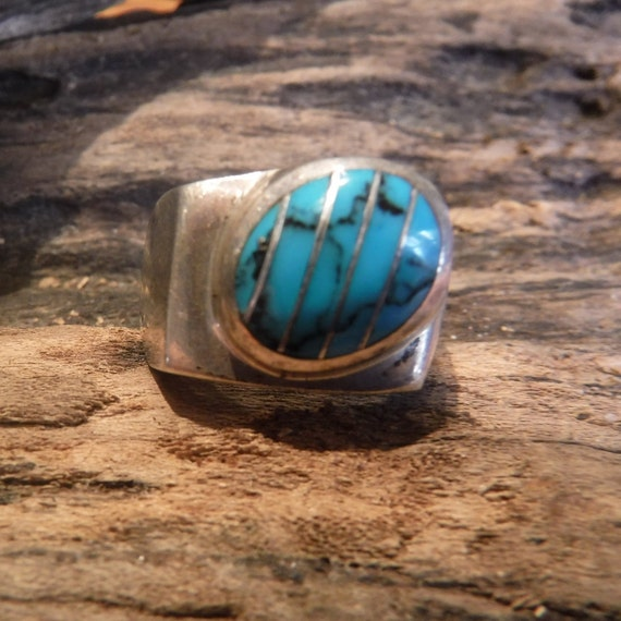 Large mens ring Mexico Sterling Silver Mens Turquoise Ring Heavy 18.8 Grams Size 10.5 Large Vintage Turquoise Ring Mens Ring Large  Ring