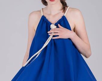 Blue summer dress / A-line woman's short dress / Tent shapeless cotton dress / Beach light stylish woman's tunic / Fasada 1779