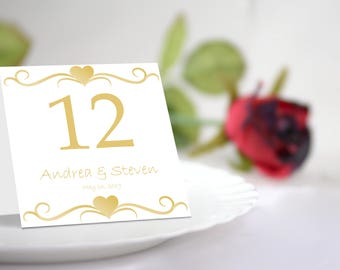DIY Gold Hearts Table Number Tent Template. Editable Colors & Text. Instant Download.
