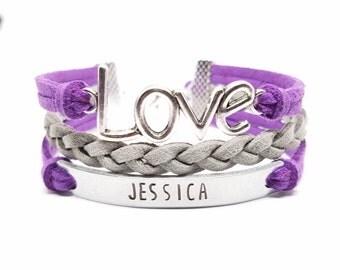Hand Stamped Name Bracelet   Personalized Silver Bar Bracelet   Love Bracelet   Love Charm Bracelet   Custom Name Bracelet   Nameplate