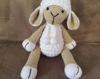 MADE TO ORDER Crochet lamb baby lovey stuffed animal sheep heirloom for baby baby sheep stuffed sheep