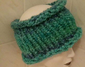 Blue green dread headband tube