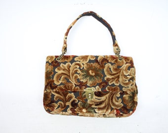 Vintage 70's Floral Tapestry Handbag / 1970's Purse / Women's Accessories / Carpet Bag