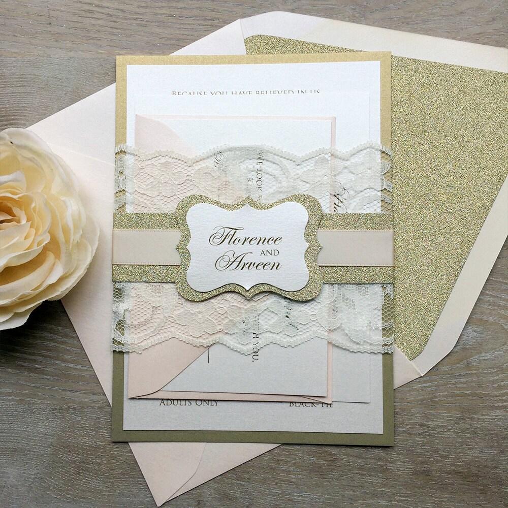 blush ivory and gold wedding invitations - 28 images - vintage ...