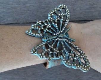 Turquoise Verdigris Rhinestone Brass Painted Distressed Recycled Leather Cuff Bracelet