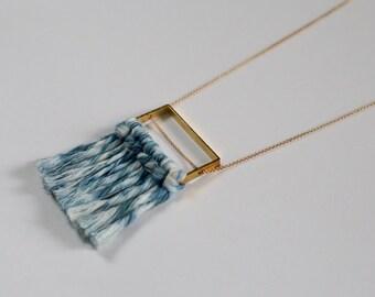Shibori Indigo Dyed Fiber Fringe Necklace with Raw Brass
