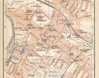 1910 Gloucester United Kingdom (Great Britain) Antique map