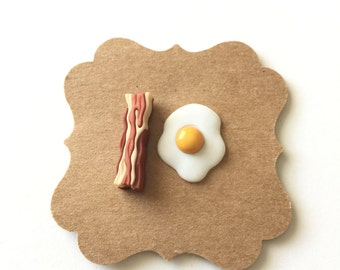 Bacon and Eggs Earrings, Geekery, Post Stud Earrings, Slice of Bacon, Kawaii, Food Jewelry, Breakfast Food