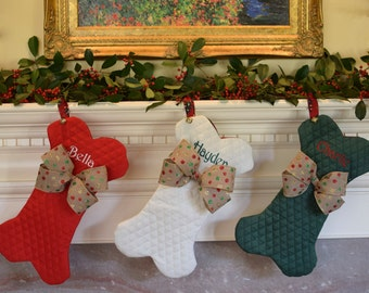 Christmas Stockings || Personalized Pet Dog Bone, Fish or Traditional with a Jingle Bell Christmas Stocking || Gift by Three Spoiled Dogs